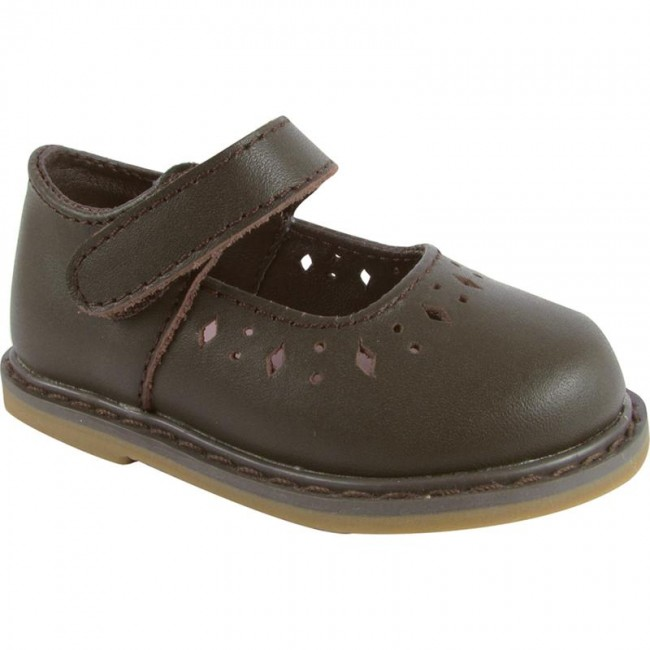 Brown Leather Mary Jane Walking Shoe