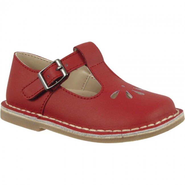 Red Leather T-Strap Mary Jane Walking Shoe