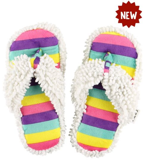 Lazy One Unicorn Stripe Spa Slippers