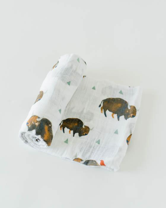 Cotton Muslin Swaddle - Bison