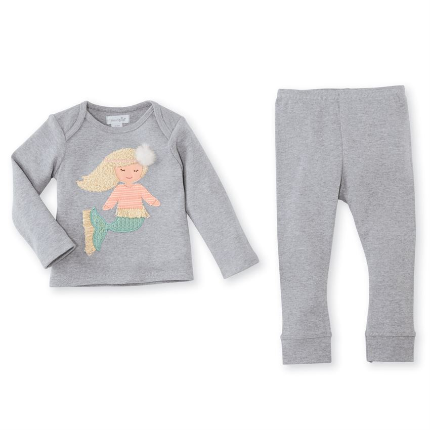 Mud Pie Boucle Mermaid Infant Pant Set