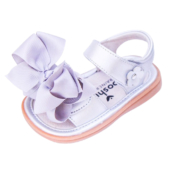 Ready Set Bow Silver Sandal Squeaky Shoes